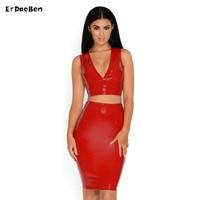 2017 New Women Fashion Leather Dress 2 Pcs Set V Neck Dresses Midi Dress Sleeveless Sexy