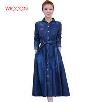 WICCON Women Fashion Jeans Dress Long Sleeve Slim Denim Turn Down Collar Vestidos Ladies Mid Calf Long A line Autumn Blue Dress