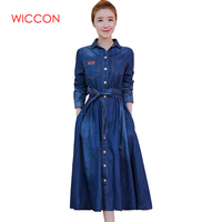 WICCON Women Fashion Jeans Dress Long Sleeve Slim Denim Turn Down Collar Vestidos Ladies Mid Calf Long A line Autumn Blue Dress