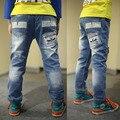 2016 новая весна и осень дети брюки модели детей джинсы большой девственный мальчик стрейч джинсовые брюки T B152