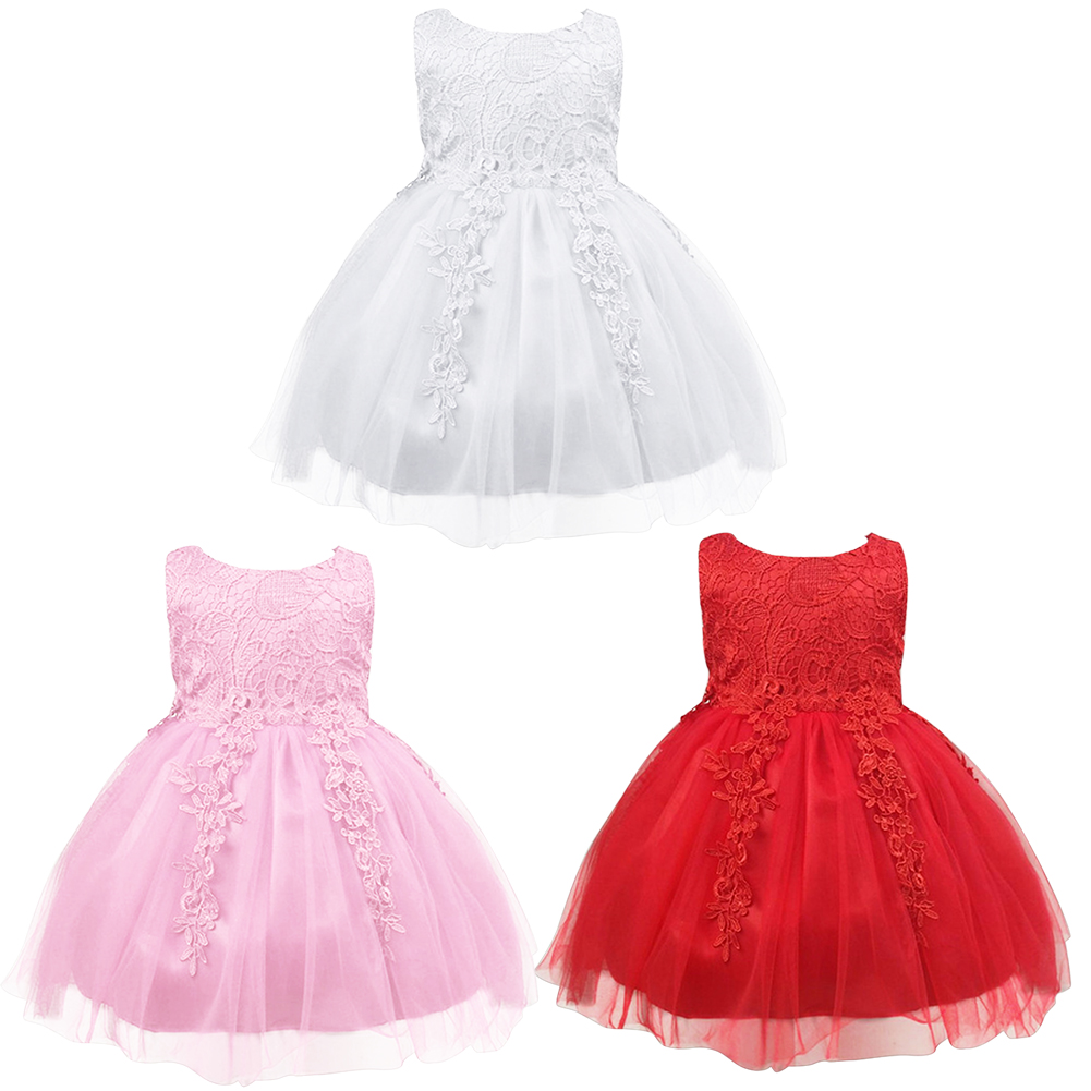Birthday Princess Party Formal Dress Girls Sleeveless Infant Lace Floral Children Elegant Dresses for Girl baby Girls Clothes