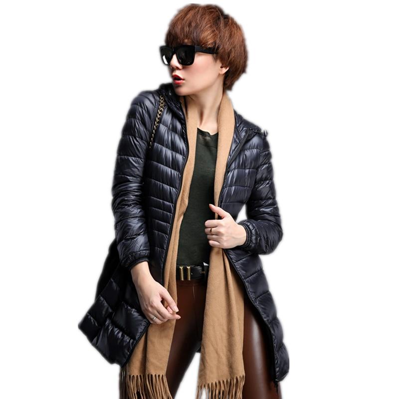 Snowka Kadın Sıcak Kış Kapüşonlu Ceket Kadın Coat slim oldu Ince Marka Aşağı Parka Aşağı ultra-hafif Ceket Uzun ElegantOutwear