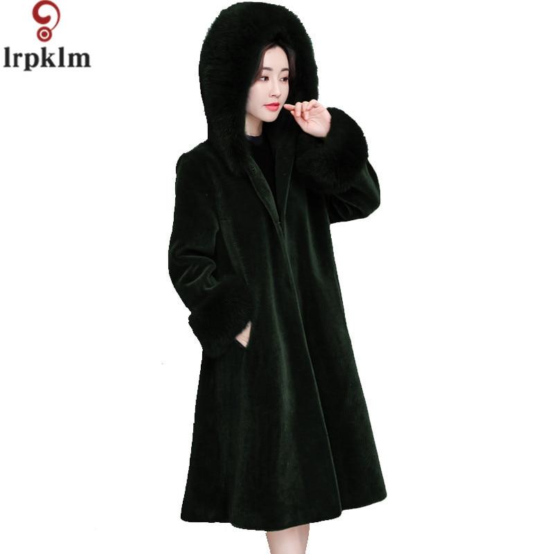 Long Black Thick Fur Coat Women's Fur Jacket Winter Overcoat Rabbit Faux Fur Outerwear New 2017 Fashion Style S-XXL LZ322