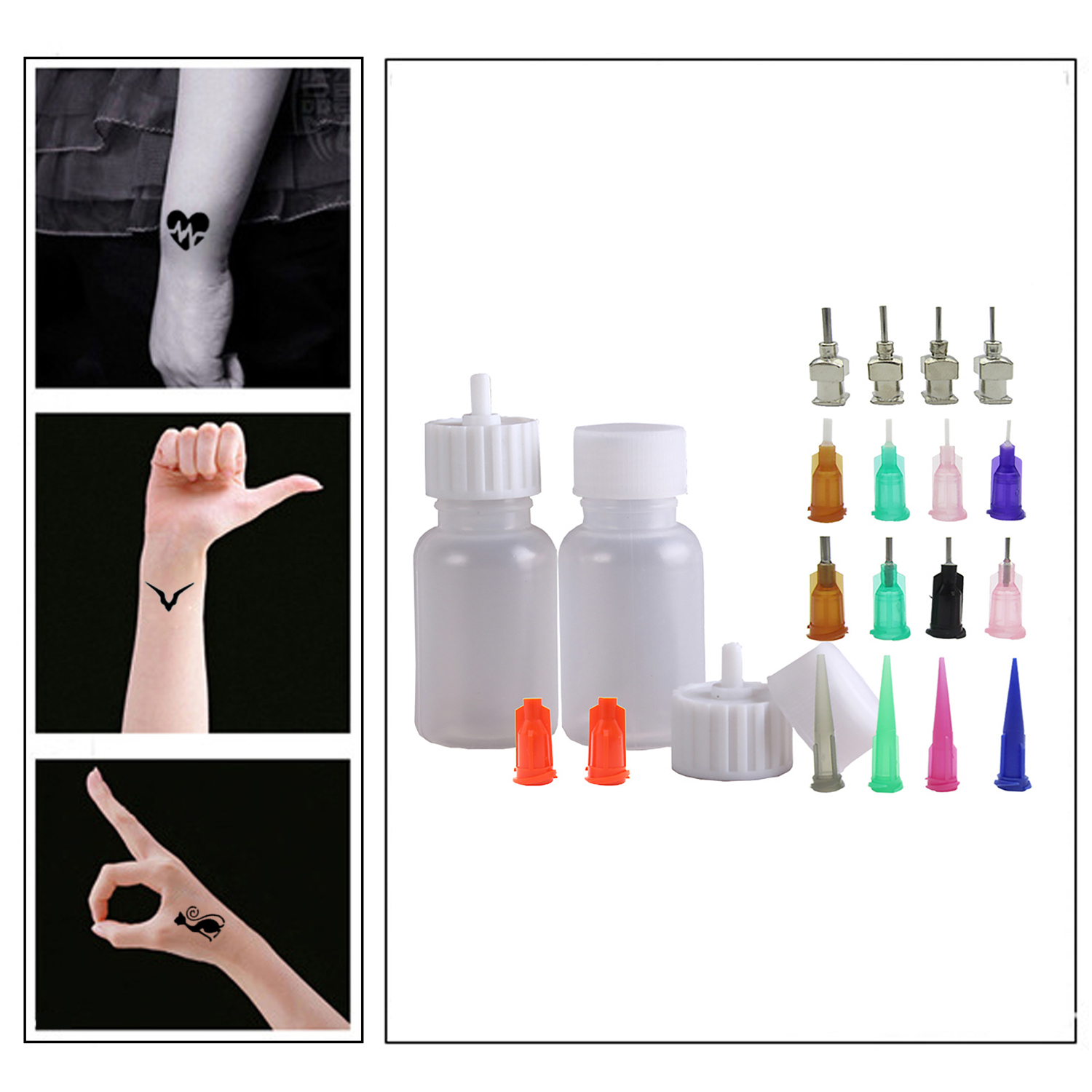24PCS 30ml Painting Paste Applicator Bottles Kit With Needles Caps Stoppers For Henna Tattoo Craft Glue Body Painting Jagua