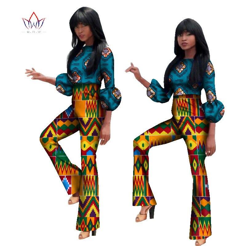 2018 afrikanischen Drucken Zwei Stück Hose Set Dashiki Afrikanische Kleidung für Frauen Bazin Laterne Hülse Crop Top und Hosen WY1128