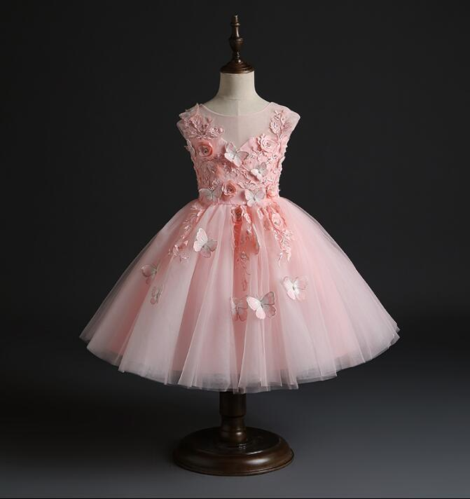 Dress with butterfly pink flower girl dress butterfly baby dress birthday dress personalized dress baby dress butterfly tutu tulle dress