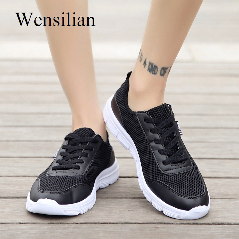 Summer Sneakers Women Trainers Air Mesh Breathable Shoes Ladies Lace-up Casual Shoes Black Sneakers Basket Femme Zapatos Mujer pinsen fashion women shoes summer breathable lace up casual shoes big size 35 42 light comfort light weight air mesh women flats