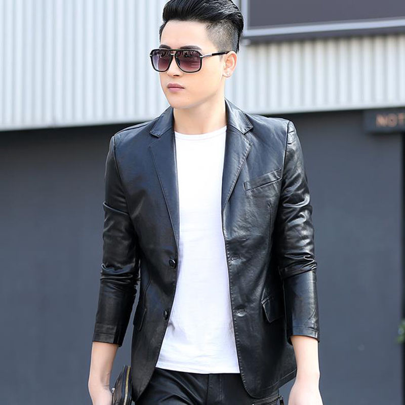 Men Leather Blazer 2020 New Spring And Autumn Male Sheepskin Casual Suit Pocket Genuine Split Leather Slim Suit Teenage Boy