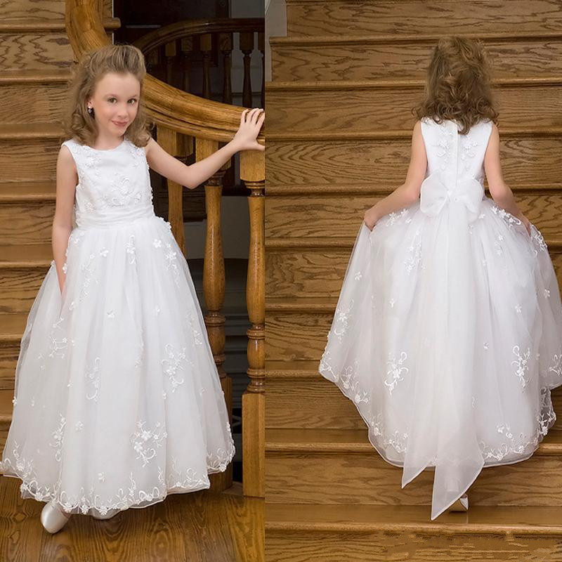 White Lace Elegant Princess   Dress   Beautiful   Flower     Girl     Dress   For Wedding Kids First Communion Gowns Sleeveless Foraml Wears