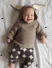 Cute Girls Boys Rabbit Ears Hooded Pullover Sweater Kids Long Sleeves O-neck Crochet Knit Animal Pattern Sweaters Children Cloth