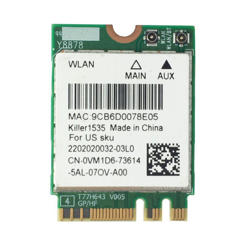 802.11ac + bt ac sem Fio Vm1d6 para Dell Wi-fi Cartão Wlan 13 17 r2 Notebooks Assassino 1535 Networking Acer 4.1 Qcnfa364a N1535