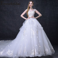 Erosebridal New Arrival 2019 Summer Tulle Wedding Dress O Neck Wedding Gown Ball Gown Bride Women Dress Illusion Dress