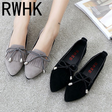 RWHK 2019 spring and autumn new fringed bow lazy flat shoes versatile flat work shoes shallow mouth pointed shoes 282