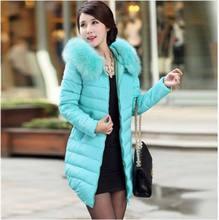 10 цвет новый 2016 зима теплая меховым воротником Сгущает Длинные вниз хлопок куртка женщин Моды тонкий с капюшоном плюс размер Пальто хлопка AE655