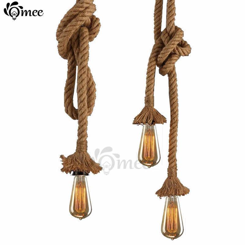 Винтажная веревка Подвесные светильники лампа Лофт креативный Бар Гараж промышленный светильник Эдисон лампа для жизни украшения для комнаты освещение