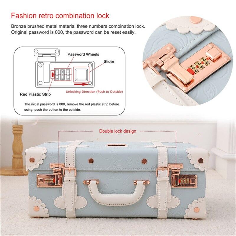 Barato Mini pequeña maleta de maquillaje bolso de cuero Pu niños lindos bolsos de viaje para niños equipaje de venta caja de belleza maleta Retro venta - 6