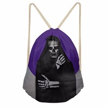Noisydesigns 3D Tropical The Skull Man Printed Backpack Women Girls New Drawstring Bag Casual Travel Storage