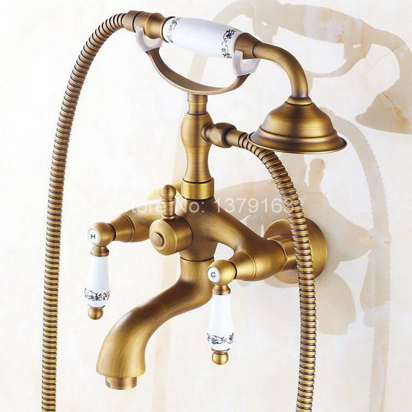 Antique Brass Wall Mounted Bathroom Tub Faucet Dual Ceramics Handles Telephone Style Hand Shower Clawfoot Tub Filler atf312 antique brass wall mounted bathroom tub faucet dual ceramics handles telephone style hand shower clawfoot tub filler atf018