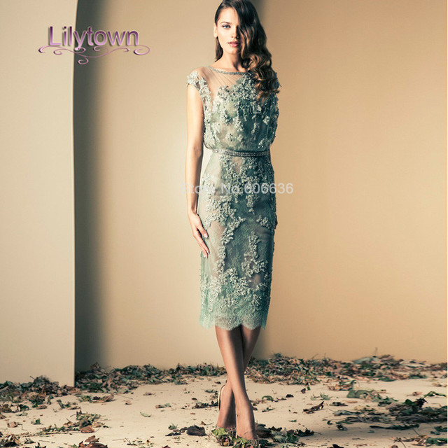 Custom Made A Line Scoop Neckline Cap Sleeve Tea Length Lace Appliques  Shashes Beaded Cocktail Dress bb6709d0c765