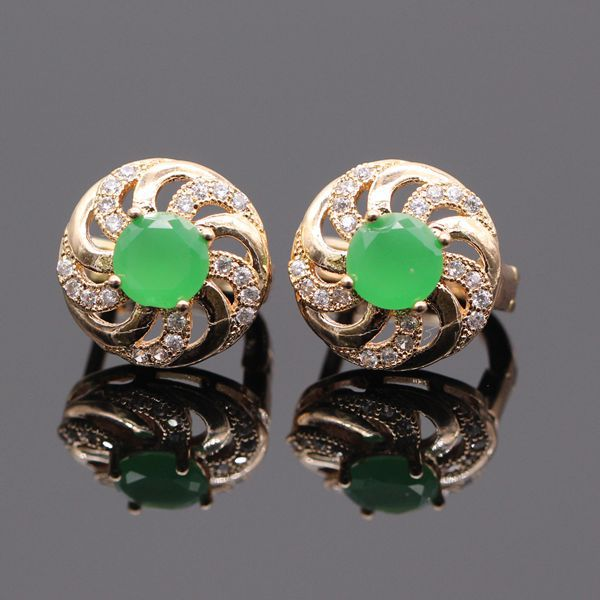 Romantic Cute Natural Green Zircon AAA CZ Charm Gold Plated Round Earring