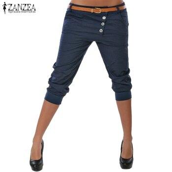 2019 Summer ZANZEA Fashion Women Skinny Party Club Trousers Casual Buttons Pockets Slim Fit Pants Solid Short Pencil Pantalon 1