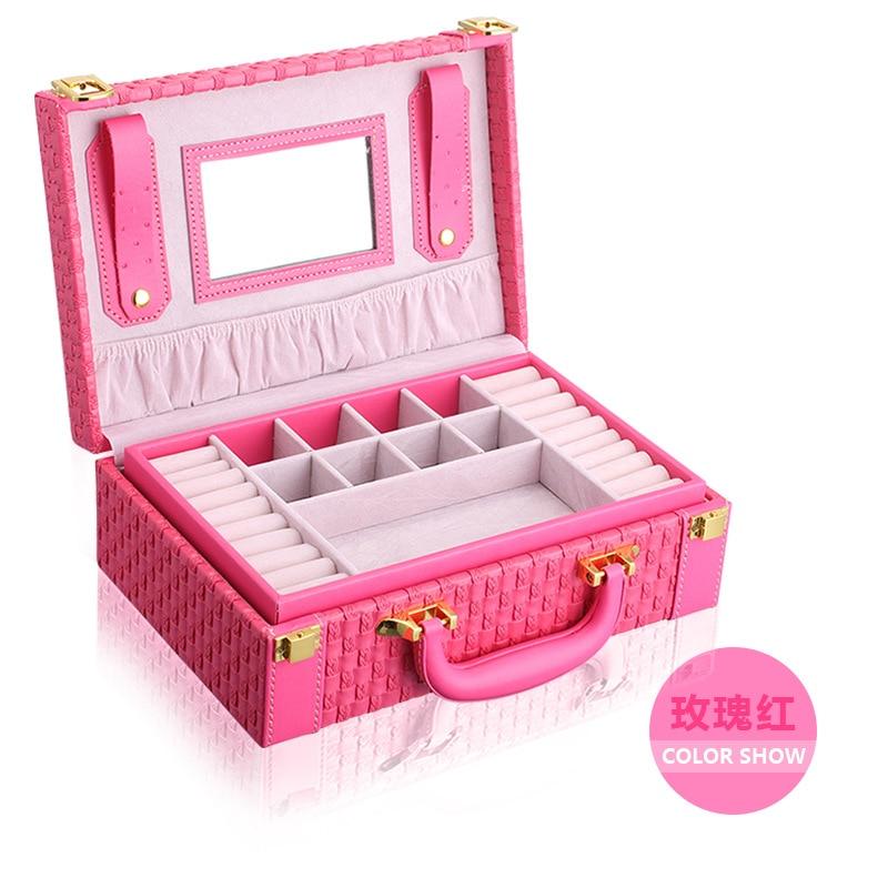 Portátil trenzado collar de la joyería patrón caja de almacenamiento multi-funcional Anillos Pendientes organizador para las mujeres regalo - 6