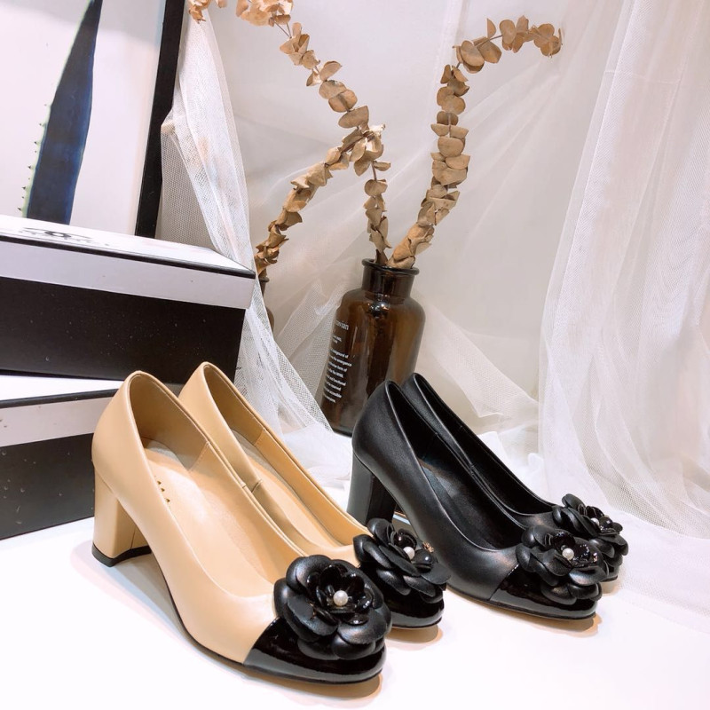 Women Pumps Work-Shoes Flower-Adornment High-Heels Comfortable Square Genuine-Leather
