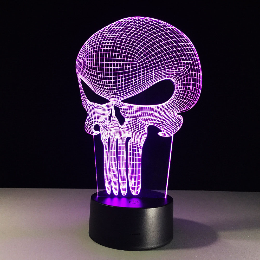 Skull 3D Visual LED Table Night Color Change Table Lamp Methacrylate Plate Lampara Deco Bedside Lights 3d Led Lamp 3D LED Lamp