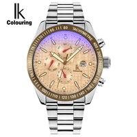 שעון Ik צבעי גברים תת מחייג אוטומטי SelfWind שעון לוח שנה LuminousF זכוכית מגדלת מראה סימפוני 50 M עמיד למים