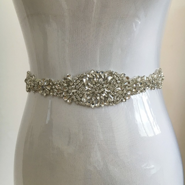New Arrival White / Ivory Gorgeous Beaded Shiny Crystals Wedding Belt Sashes for Bridal Gowns Prom Party Dresses  PJ106