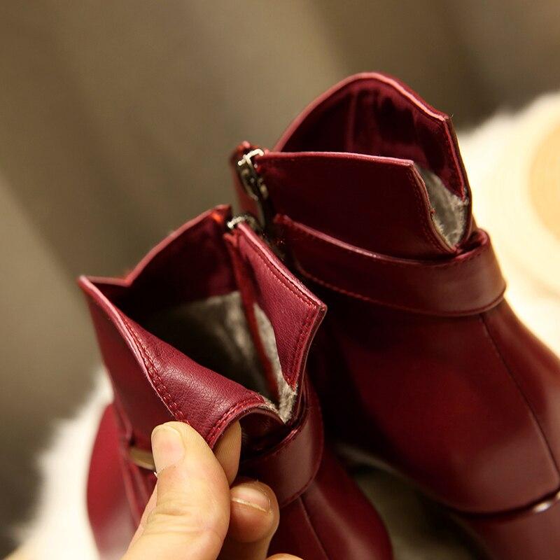 EGONERY Koe Lederen dance party Laarzen lente winter Korte Pluche rits zwart rood wijn vrouwen 6cm Hoge hakken bruiloft schoenen 34 43CN-in Enkellaars van Schoenen op  Groep 2