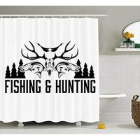 Vixm 狩猟と釣りヴィンテージエンブレムデザイン枝角ホーンマガモ松ツリー生地のシャワーカーテン