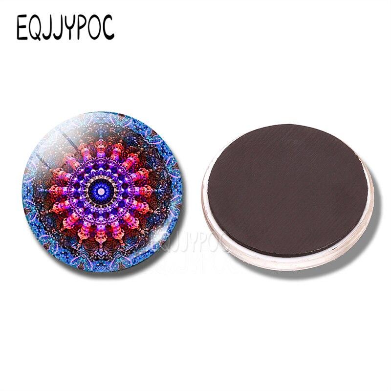 Blauw Roze Mandala 30 Mm Koelkastmagneet Boho Geometrie Spirituele Amulet Glas Magnetische Koelkast Stickers Houder Woondecoratie Aangenaam In De Nasmaak