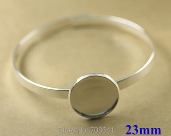 23mm New Silver Plated Brass Circle Round Bezel tray Blank Cabochon Bases Lock cuff Bracelet Bangle Settings Findings Wholesale
