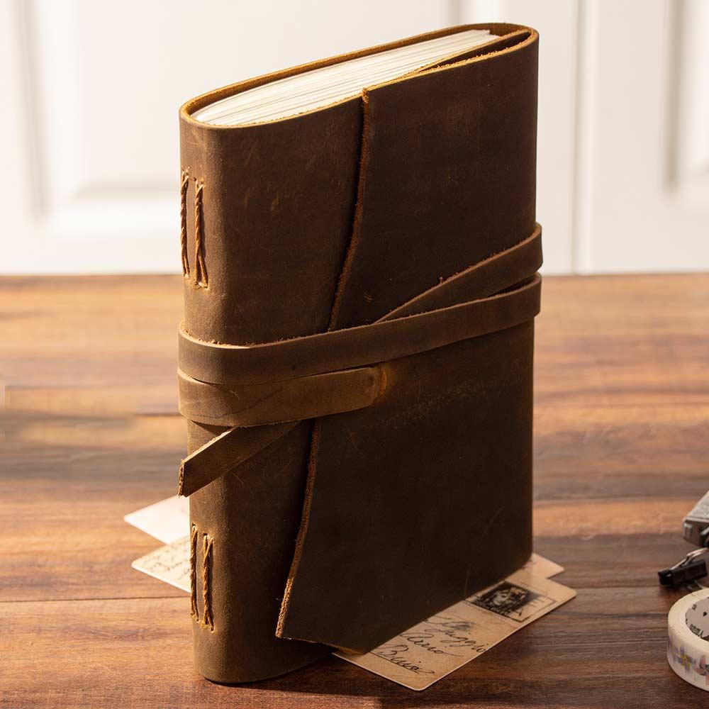 Journaux vierges carnet de notes carnet de notes en cuir véritable épais Vintage 100% cuir de vachette Journal Journal carnet de croquis planificateur