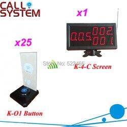 Zatwierdzona przez CE 433.92 mhz bezprzewodowy Buzzer systemów usług restauracyjnych z 25 otrzymać telefon zwrotny od przyciski i 1 wyświetlacz  wysyłka za darmo