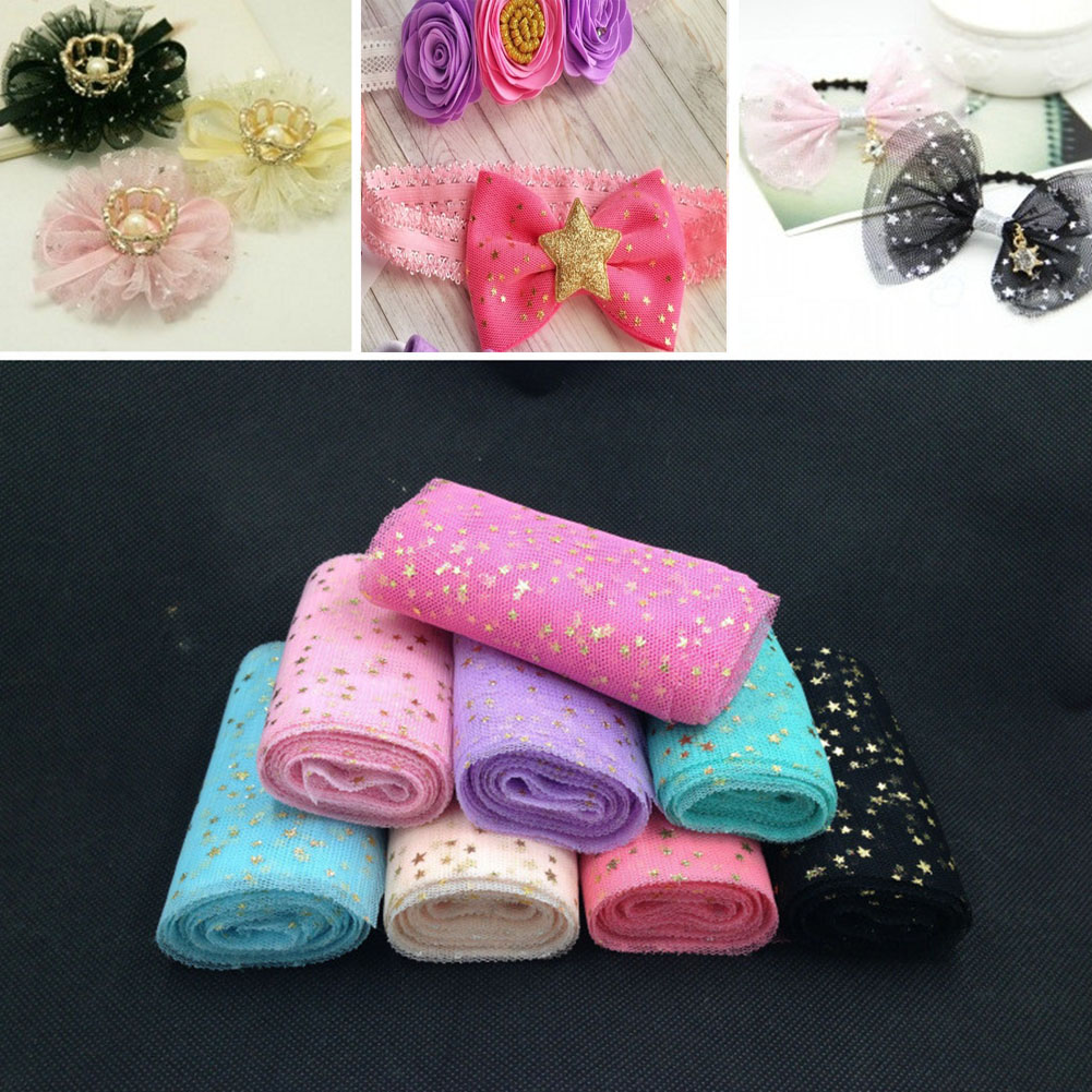 5 yards/roll Gold Star Glitter Sequins Tulle Fabric Bow Tulle DIY Soft Craft Mesh Organza Wedding Birthday Party Decoration 2020