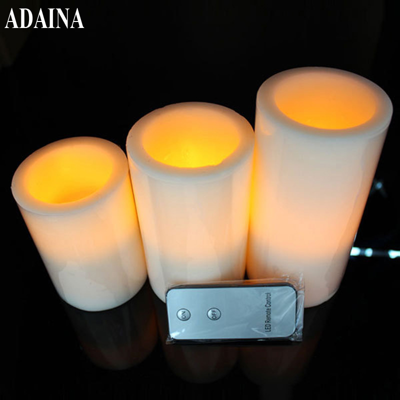 3Pcs Flickering Flameless Realistic Remote Candles Electronic LED Candles Light for Wedding Party Home Indoor Decoration Gifts