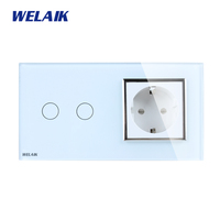 WELAIK 2 Frame Crystal Glass Panel White Black Wall Switch EU Touch Switch Screen Wall Socket