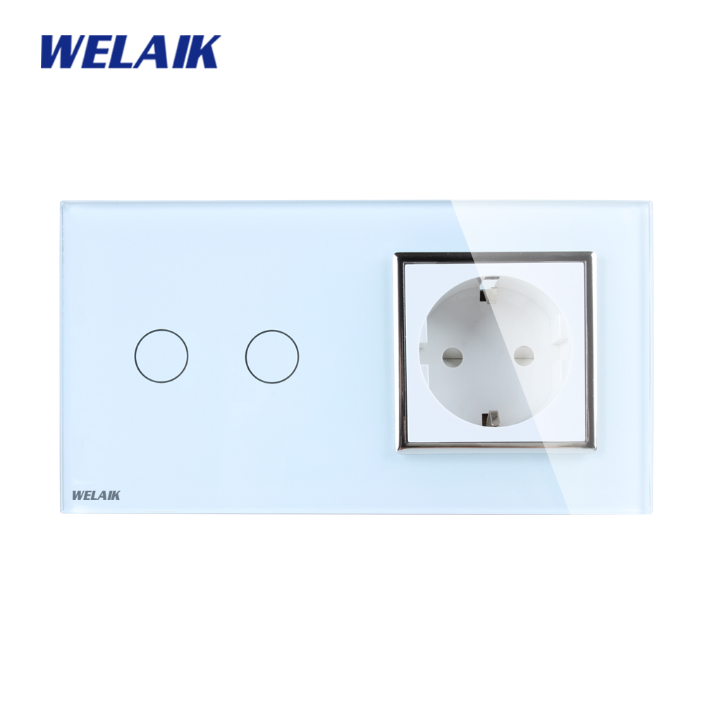 WELAIK Brand 2Frame Crystal Glass Panel Wall Switch EU Touch Switch Screen EU Wall Socket 2gang1way AC110~250V A29218ECW/B scinder switched socket package 15 steel frame two or three five hole electrical outlet wall switch panel switch