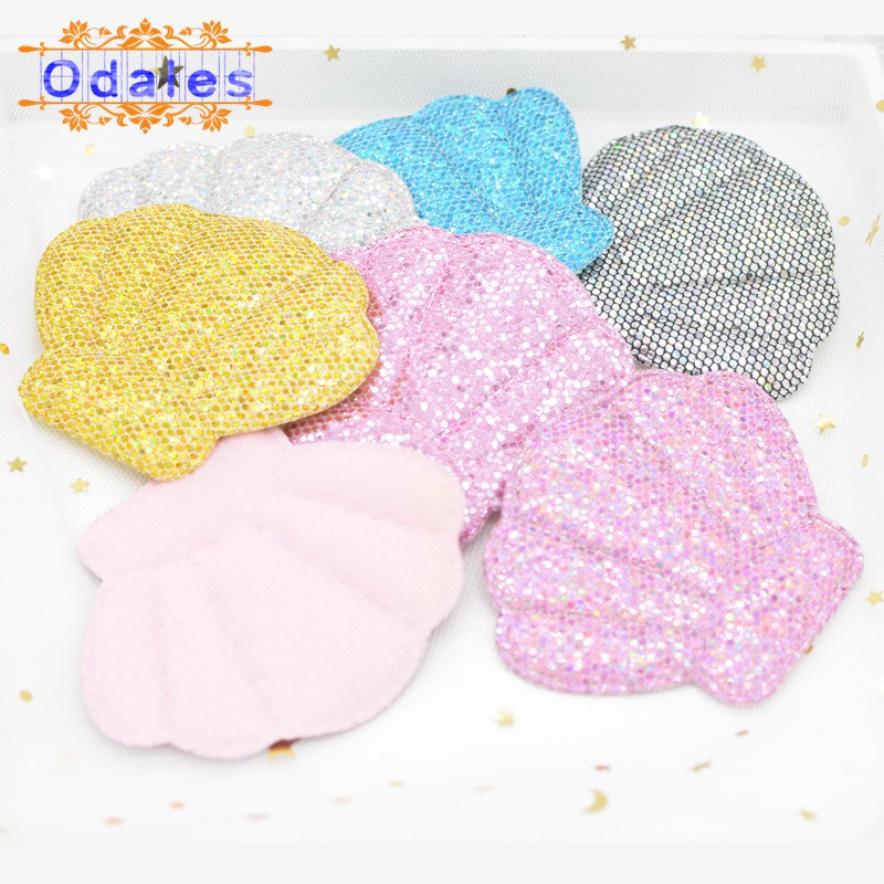 6Pcs 80*65MM BlingBling Shell Padded Appliques for Cake Topper Starfish BB Clip Accessories DIY Kid Patches Scrapbooking Supply