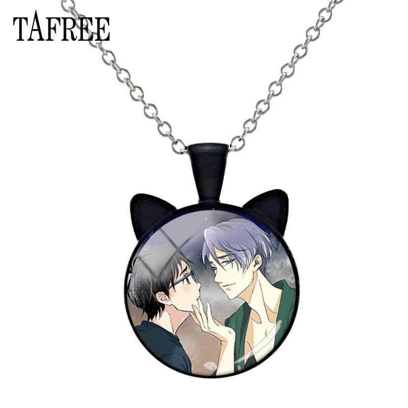 TAFREE chaud Anime YURI!!! Sur glace Cosplay oreille collier bande dessinée Yuri collier verre dôme pendentif colliers femmes bijoux AN05