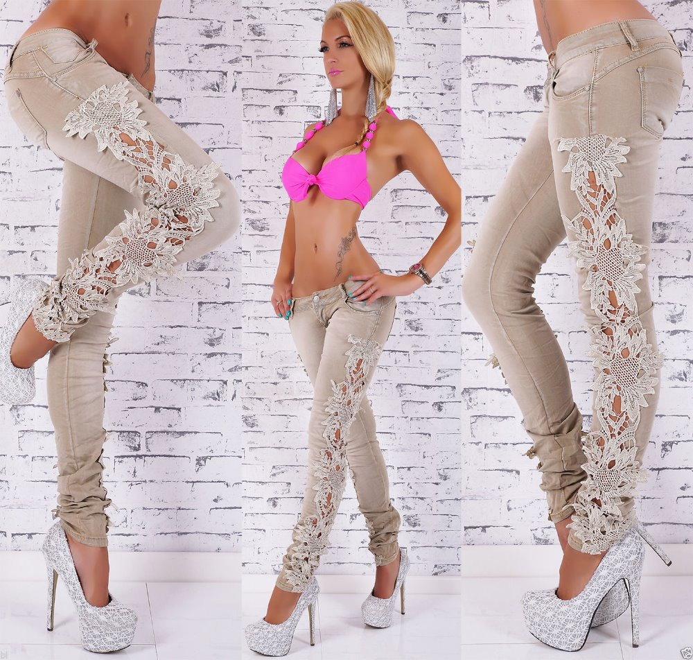 Aliexpress.com : Buy New 2016 Hot Summer Women Ripped Lace Jeans ...