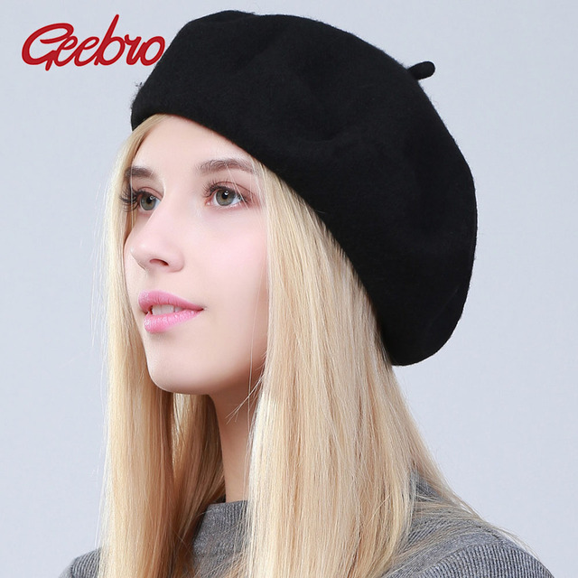 0f37e47afd6b2 Geebro Women s Beret Hat Fashion Cashmere Solid Candy Color Warm Wool Berets  for Women French Artist Beanie Beret Hats for Girls