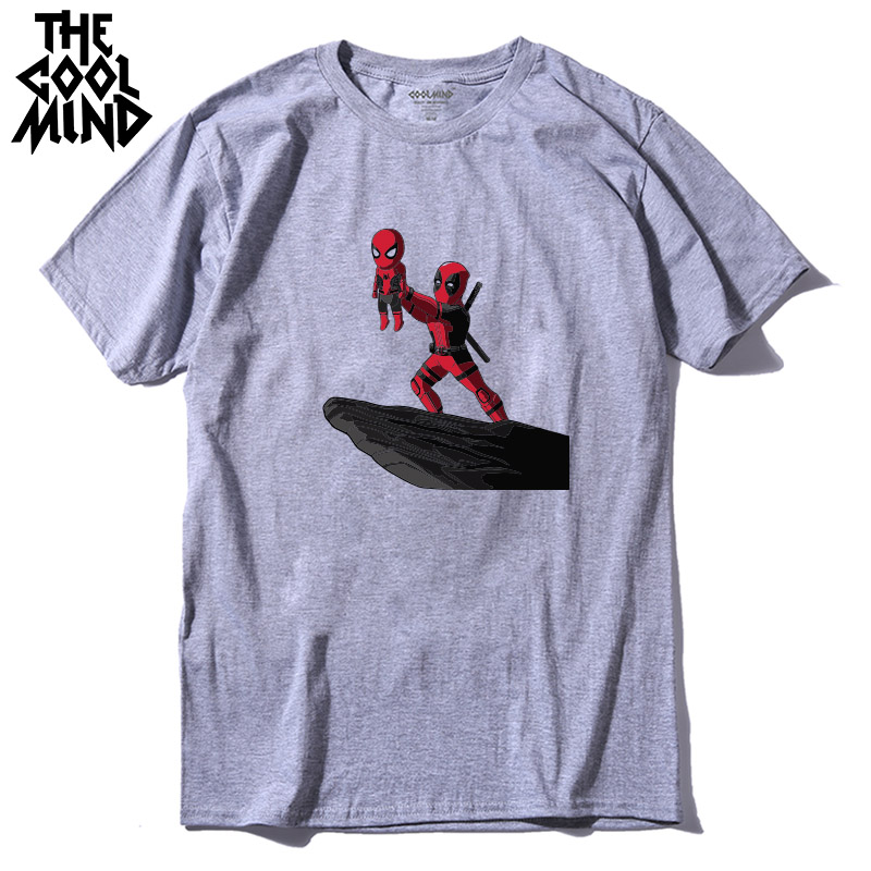 COOLMIND QI0316A 100% cotton cool funny deadpool printed men T shirt casual short sleeve