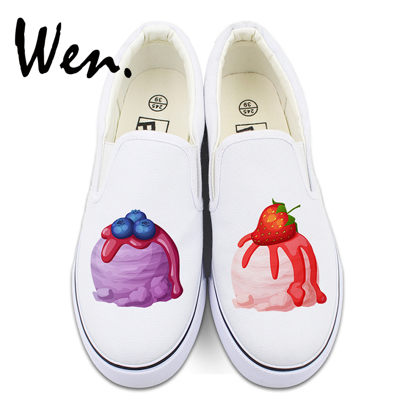 7930322cc4 Wen Food Design Slip on Shoes Blueberry Strawberry Ice Cream Canvas Sneakers  White Black Flats for Men Women Strapless Plimsolls-in Skateboarding from  ...