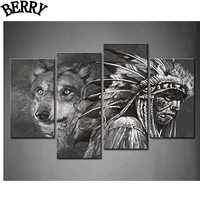 4pcs 5D DIY Diamond Painting Black And White Wolf And Indians Home Decor Needlework Square Full