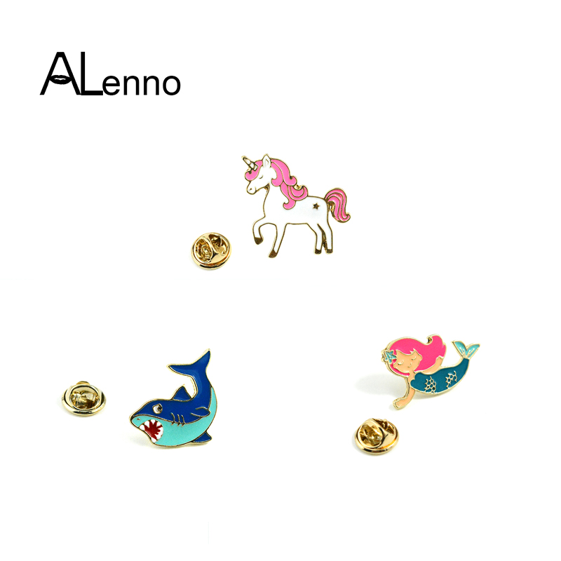1pcs/lot Enamel Pins Set Unicorn Shark Mermaid metal Badge Brooch Button Pins Anime Jewelry Decorations For Women Clothes Gifts