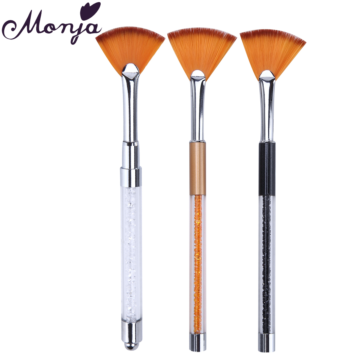 Monja Nail Art Rhinestone Fan Brush Gel Polish Tips 3D Design Decor Gradual Coating Painting Drawing Dust Cleaning Remove Pen-in Nail Brushes from ...