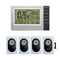 Цифровая беспроводная метеостанция с крытым Уличный Термометр гигрометр цифровая сауна часы-будильник с термометром 4 передатчика